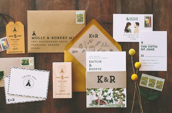 Camping Wedding Invitations: Rustic And Woodland Watercolor Camp Vibes Wedding Invitation: