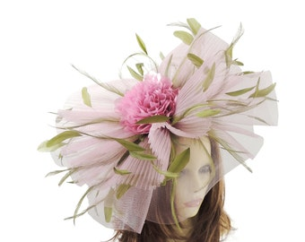 Jenny Pink Olive Green Fascinator Hat for Weddings, Kentucky Derby With Headband (20 colours)
