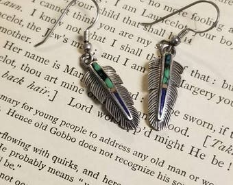 Vintage Sterling Silver 925 Feather Turquoise Lapis Lazuli Inlay Pierced Earrings