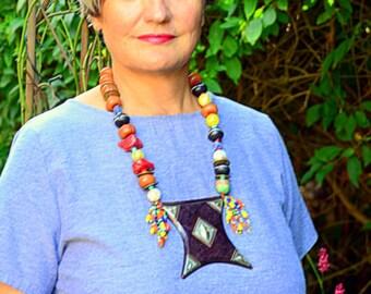 Statement necklace, Bohemian Jewellery, Colourful Jewellery, African, Tuareg, Tcherot, vibrant, big, bold, chic, tribal necklace, Saharan