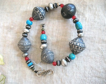 Ethnic African beads with turquoise Necklace