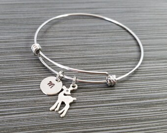 Antique Silver Doe Bangle - Little Deer Charm Bracelet - Expandable Bangle - Charm Bangle - Deer Bracelet- Initial Bracelet - Doe Bracelet
