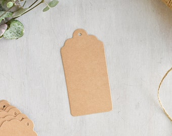 Medium Kraft Scalloped Tags | Kraft Luggage Tags - Brown Kraft Card - Kraft Gift Tags - Swing Tags - Wedding Favour Tags