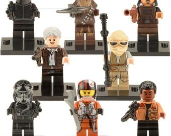 Star Wars Mini Figures Rey,Han Solo,Chewbacca,Finn,Poe Dameron,Crew,Pilot & Gang Member Fit lego Marvel,Ninjago