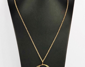 Large Lunar Eclipse 18k Yellow Gold Vermeil Pendant on 80cm Chain
