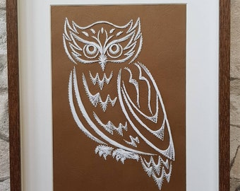Owl Paper Embroidery/String art