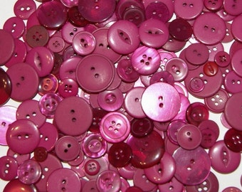 100 Buttons, Deep Pink, Raspberry Buttons,  Assorted sizes, Sewing, Grab Bag,  Crafting, Jewelry,  Collect (1062)