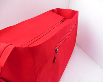 Extra wider and taller Bag insert /Purse insert with Zipper closure- Diaper Bag organizer in Red solid fabric