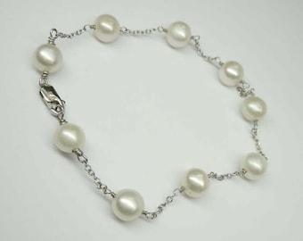 Outstanding Vintage 14K White Gold Cultured Pearl Bracelet 7in