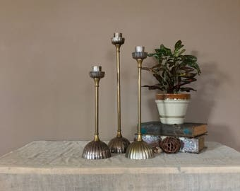 Set of Tall Vintage Brass Candlesticks / Brass Candle Sticks / Brass Candle Holders / Wedding Candlesticks / Brass Candleholders