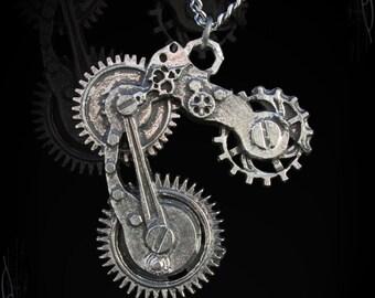 Old Steamunk Gears necklace , goblin pendant, old steampunk, goblins talisman, goblin accessory, steampunk pendant, Goblin's crap necklace