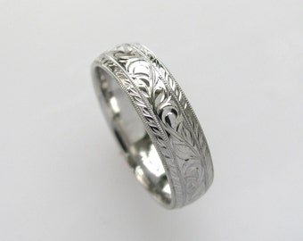 6mm Vine and Leaf Hand Engraved Wedding Band or Anniversary Band