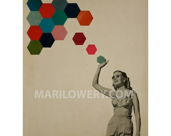 Colorful Hexagons Geometric Surreal Art Print Retro Dorm Room Decor 8.5 x 11 Inch Paper Collage Print