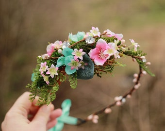 Flower head wreath,floral head wreath,wedding head wreath,bridal head wreath,bridal hair accessories, flower crown,floral crown