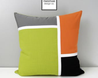 Decorative Acid Green Outdoor Pillow Cover, Mid Century Modern Pillow Cover, Grey Orange and Black Sunbrella Cushion Cover, Mazizmuse