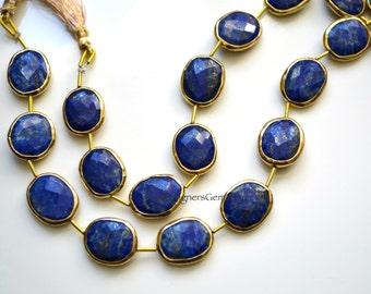 Lapis Lazuli Oval Rimmed Beads, Blue Lapis Beads, Gold Bezeled Lapis Lazuli Beads, Gold Vermeil Bezeled Beads 16x13mm