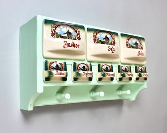 Antique spice shelf, kitchen shelf, kitchen cupboard, hanging cupboard, pour ceramic, spice cupboard, vintage kitchen Germany
