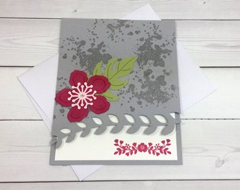 Anniversary Card - Stampin' Up! Botanical Flowers Card - Hand Stamped Card - Valentine's Day Card - Handmade Card - Love is in the Air Card