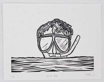 Boy and Mask, Linocut, Hand Printed, Limited Edition, Printmaking Original