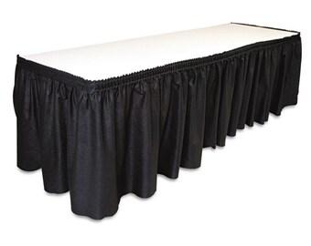 """14' x 29""""-Black Linen Like Soft Table Skirt Non Woven-Polyester/Nylon Blend 1 pc"""