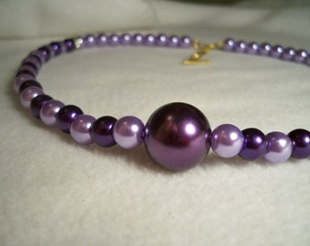 Purple Faux Pearl Necklace