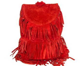 Suede Fringe Hipster Backpack   80's Boho Style   Red