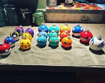 Hand Painted Pokemon Ornaments (plastic)
