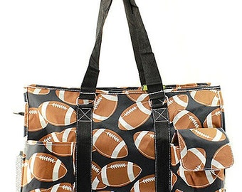 Monogrammed Football Utility Tote-Personalized Gift-Monogram Utility Tote-Personalized Utility Tote-Monogram Carry All Bag