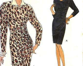 Vogue 8417 Very Easy Misses Slim Fitting Side Gathered Dress Pattern, Size 12-16, UNCUT