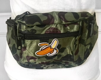 Banana camo fanny pack nylon camouflauge bum bag with banana patch appliques fest fanny pack festival bag