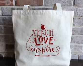 Teacher Gifts - Teacher Appreciation Gift - Teach Love Inspire - Teacher Tote - Large Canvas Tote Bag - Reusable Grocery Bag - Shopping Bag
