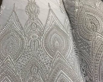 Geometric Diva Heavy Beaded On Mesh Fabric By The Yard Used For -Dress-Accessories-Bridal-Nightgown-Prom [White] FREE SHIPPING!!!