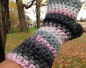Fingerless Gloves Long Arm Warmers Black Pink and Gray