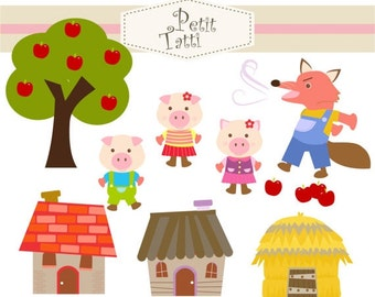 ON SALE Three little pigs clip art - Digital clip art for all use, instant download clip art