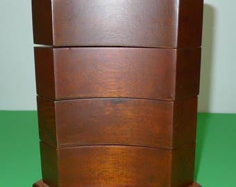 The BOMBAY COMPANY INC  4 Drawer swivel jewelry  wooden  square trinket box