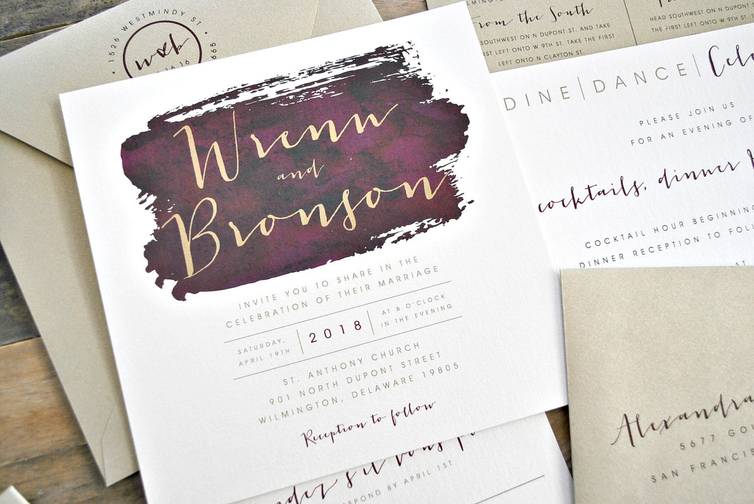Square Bronson Wedding Invitation Suite with Belly Band Wine