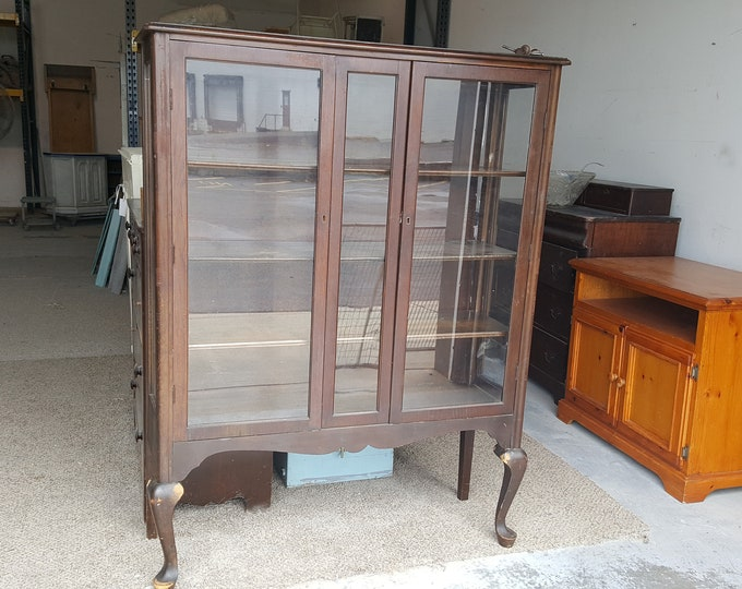 Pick Up Only, Vintage China Cabinet Shabby Chic, Painting inc, Distressed breakfront, pantry, storage, dining room, rustic farmhouse cottage