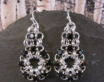 Circle Drop Chain Maille Earring Kit - Silver & Jet Black