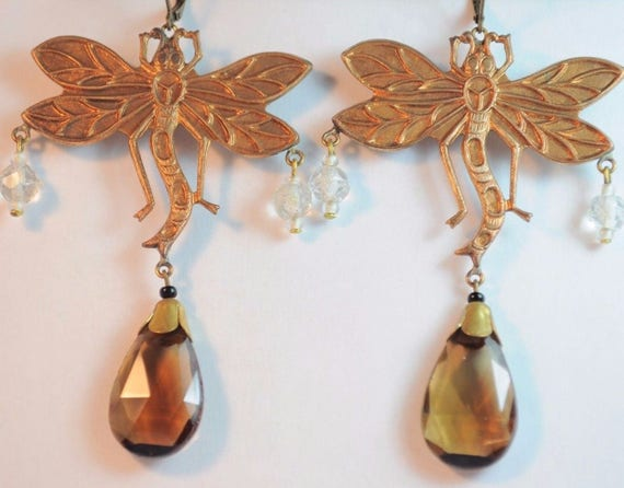 Beautiful Czech vintage  Art Deco topaz glass dragonfly  dropper earrings