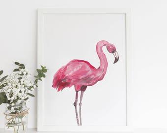 Flamingo Print, Flamingo Poster, Beach Decor, Art Print, Girls Nursery, Gift for Her, Tropical Wall Art, Pink Flamingo, Printable Flamingo