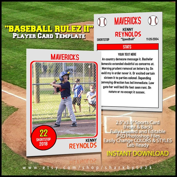 Baseball Card Template Perfect For Trading Cards For Your Team For - Baseball card template photoshop