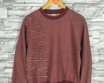 Vintage 1990's NIKE Swoosh Sweatshirt Women Medium Sportswear Streetwear Nike Spell Out Crewneck Sweater Nike Air Red Jumper Size M