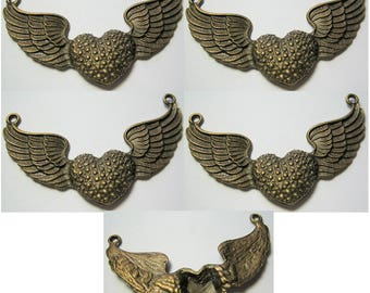 Winged Heart Finding Bronze Antiqued Color Charm 4 piece lot