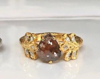 Red pear diamond raw diamond organic leaf petal 1 carat diamond solitaire branch twig engagement ring