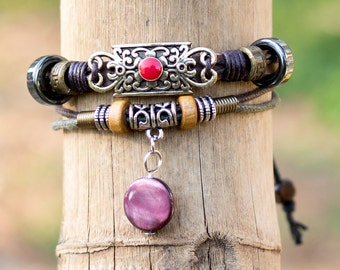 Womens Boho Bracelet // Hippie Jewelry For Women // Womens Hippie Bracelet // Gypsy Bracelet // Tribal Bracelet // Leather Bracelet