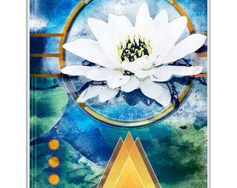 Photographic fine art deco waterlily, white flower with yellow and gold art deco elements frameable wall art home decor, LemonDropImages