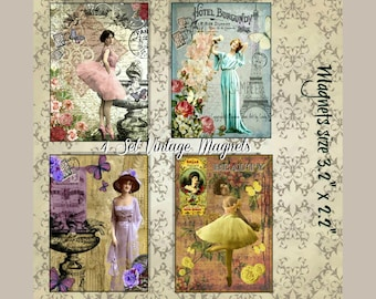 Set of 4 Vintage Ladies Magnets, French, Paris, French Typography, Refrigerator Magnet, Magnet, Gift