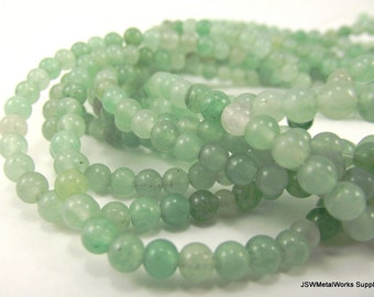 Green Aventurine Round Beads, 4mm, 16 Inch Strand, Whole Strand