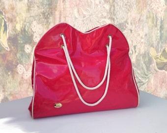 Vintage 60s Red tote bag XL