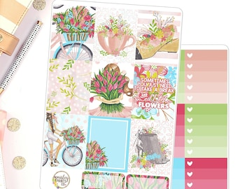 Smell the Flowers Weekly Kit Planner Stickers for use in Erin Condren
